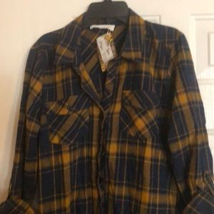 NEW Blue/Mustard Long Flannel Shirt with Pockets